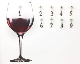 9 Numerical Wine Glass Charms, Magnetic Wine Charms, Gift for Her, Wine Accessories, Bar Accessories, Wine Lovers, 21st Birthday Gift
