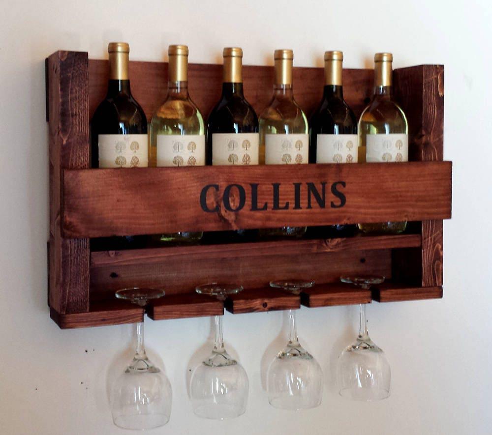 Wine Rack, Personalized Wine Rack, Wall Mounted Wine Rack, Wine Rack Wood,  Rustic Wine Rack, Rustic Decor, Wedding Gift, Anniversary Gift