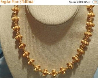 ON SALE stunning vintage 1991 mma persian or etruscan necklace covered in 24k gold