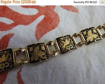 ON SALE stunning vintage damascene bird and leaves damascene bracelet