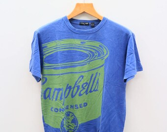 Vintage ANDY WARHOL Campbells Condensed Blue Tee T Shirt Size M