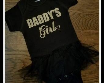 Daddy's Girl Tutu Bodysuit,Daddy's Girl Fathers Day Outfit,Daddy's Girl Tutu, Daddy's Girl Fathers Day, Daddy's Girl Glitter Bodysuit