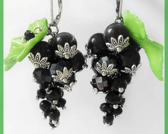 Sale Black long earrings Girl beautiful earrings Lady forest earrings Nature currant earrings Women day gift Summer outdoor Lady Amazing ear