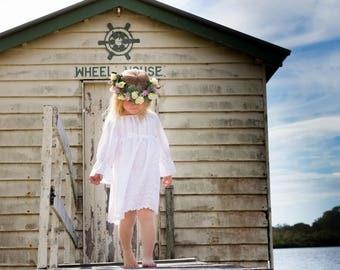 Little Girls Whimsical Broderie  Anglaise White Dress. Boho Inspired. Boho meets Vintage.