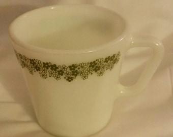 SET OF 2 Crazy Daisy Mugs Vintage Pyrex Tea Cups Green Milk Glass Flowers