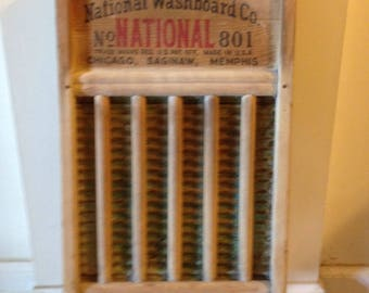 Vintage Brass Washboard /National Washboard Co./No.801/The Brass King/Laundry decor /primitive laundry