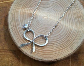 Sterling silver handmade Jewelry,  bow pendant necklace, bohemian, with cz charm, artisan Valentine gift for her