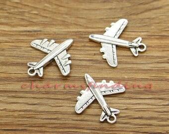 20pcs Plane Charms Airplane Charms Travel Charms Antique Silver Tone 20x22mm cf3371