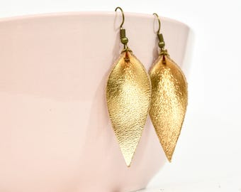 Gold Foil Leather Leaf Earrings --Small, Medium, or Large // Gold Leaf Earrings