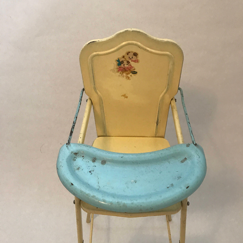 Vintage Metal Doll High Chair AMSCO Doll E High Chair Yellow