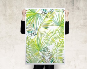Watercolour Tropical Leaves Art Print Poster
