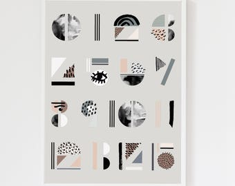 Abstract Numbers Cool Grey Art Print