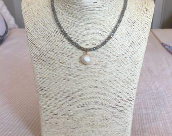 labradorite choker w/ pearl drop