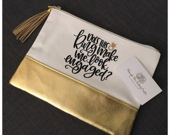 Does This Ring Make Me Look Engaged? Canvas Zipper Bag with Gold Bottom |Makeup Bag| Pencil Bag| Pouch| Gift for Her| Bride to be