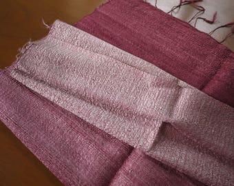Traditional handwoven silk textile - asian tribal silk textile - handwoven traditional Thai scarf silk weaving -