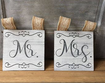 Custom Wedding Sign - Mr and Mrs Chair Back Signs