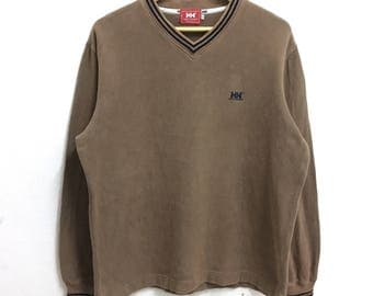 RARE!!! Helly Hansen Small Logo Embroidery V-Neck Brown Colour Long Sleeve T-Shirts Hip Hop Swag XL Size