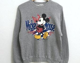 RARE!!! Mickey Mouse Cartoon Disneyland Big Logo Crew Neck Grey Colour Sweatshirts Hip Hop Swag S Size