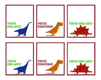 "Valentine's Day Cards - Dinosaur Valentine's Day Cards - Kindergarten Valentine's Day Cards - 3"" x 3.5"""
