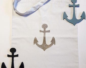 Tote bag checks and anchor marine