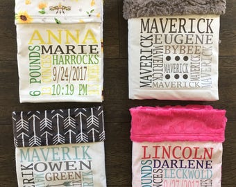 PERSONALIZED Baby Blanket - baby gift, baby shower, stroller blanket, unique baby gift