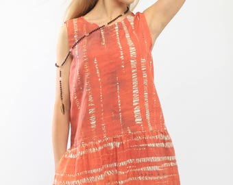 Oversize dress, color tunic, woman summer dress, printed dress, girls dresses, orange dress, woman linen dresses, oversize linen dress,dress