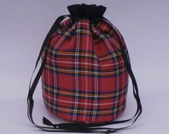 Cerise Pink Tartan Dolly Bag Purse Evening Handbag With Black Satin Ribbon