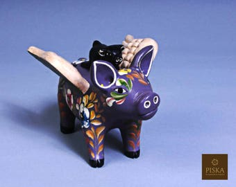 """Flying Pig Handpainted in Ceracmic - 5.9"""" x 4.3"""" x 4.3"""""""