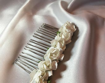 White decorative bridal comb Bridesmaid hair comb, wedding hair comb, hair piece, Bridal hair comb, First Communion, Flower girl accessories