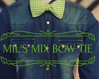 Green plaid bow tie , pink plaid bow tie , gingham bow ties , orange gingham Bow Tie