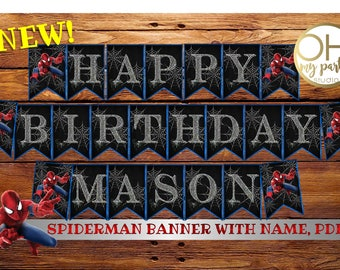 Spiderman Birthday BANNER with name, spiderman banner, spiderman birthday, spiderman party, spiderman printable,spiderman party supplies