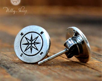 Silver earrings Wind rose. Travel .Mountain jewelry.Silver jewelry.Gift for the traveler.Gift for the climber.Silver Wind Rose. Compass.