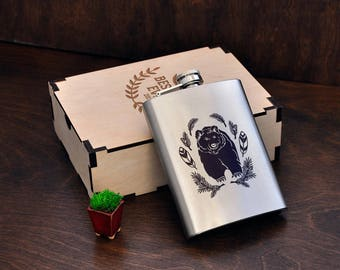 Personalized Engraved Flask Bear Gift for Him Personalized Gift for Men Hunter Gifts Personalized Flask 8oz Flasks for Men Birthday Gift Box