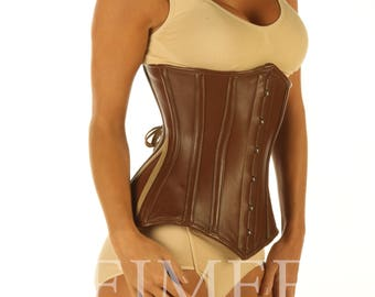 Tight lacing Brown Leather Corset Steel Boned MONTANA