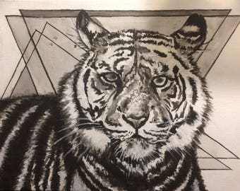 Tiger with geometric background