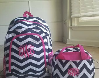 Monogram Black and Pink Chevron backpack and lunch bag- personalized bookbag
