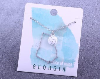 Customizable! State of Mine: Georgia Volleyball Enamel Necklace - Great Volleyball Gift!