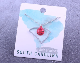 Customizable! State of Mine: South Carolina Basketball Enamel Necklace - Great Basketball Gift!