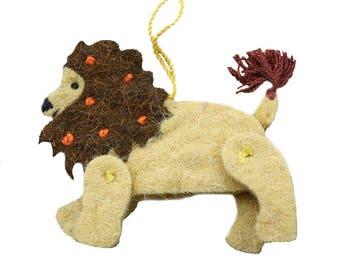 Natural Fiber Lion Ornament
