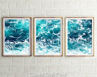 Set Of 3, Ocean Art Prints, Digital Prints, Coastal Wall Art, Ocean Print, Prints, Turquoise Art, Sea Print, Blue Poster, Office Art Prints