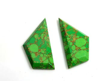 31Ct 36X17X4mm Green Copper Turquoise Fancy Cut Loose Gemstones - Designer Top Quality Natural Green Copper Turquoise Gemstone for Jewelry
