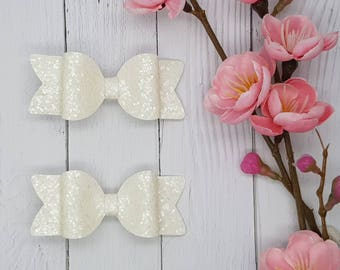 Piggytail Clips - Smooth Chunky Glitter Leatherette- White