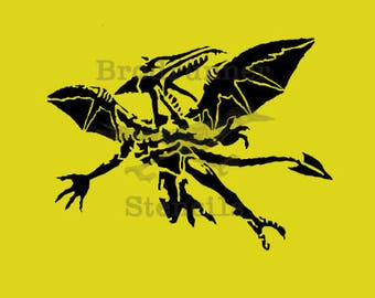 """Dragon Stencil (Reusable) 8.5""""x 11""""-- Two-Layer, or Single Layer"""