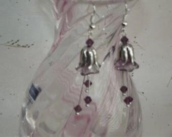 Purple Bellflower Earrings    Handmade Earrings    Beaded Earrings    Drop Earrings    Crystal Earrings