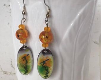 Citrus Twist Earrings, Enameled Earrings, Drop Earrings, Dangle Earrings, Beaded Earrings