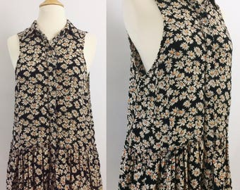 Soft rayon tunic with daisy print and peplum skirt | 1990s vintage tunic dress
