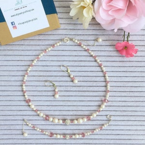 Crystal Station Necklace Rose Gold Necklace Extra Long