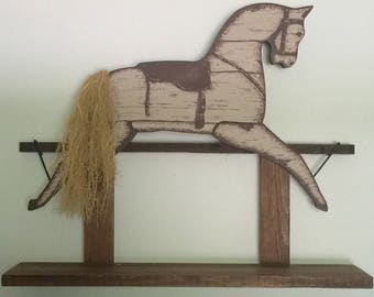 Vintage Horse Shelf, Vintage Wooden Shelf, Vintage Wooden Horse Shelf