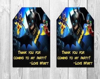 Lego Batman Birthday Party Favor Tags, Lego Batman Favor Tags, Lego Batman Thank You Card