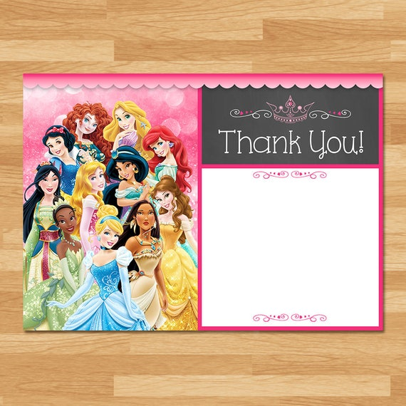 Disney Princess Thank You Card Instant Download - Chalkboard - Princess Thanks - Disney Princess Thank You Card - Princess Printables